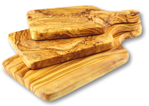 wooden olive wood cutting carving cheese steak serving boards with paddle set of 3 planche en bois d'olivier by MR OLIVEWOOD® Wholesale USA Canada