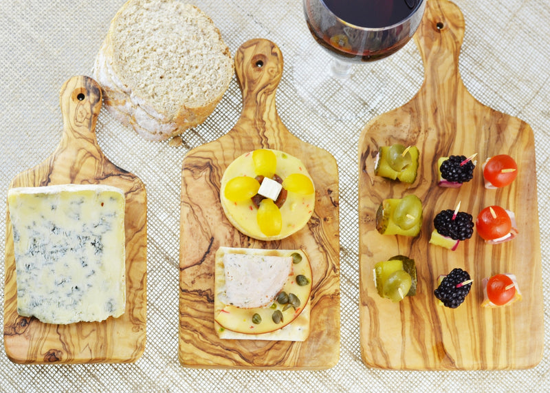 wooden olive wood chopping cutting carving cheese steak serving boards with paddle set of 3 serving food planche en bois d'olivier by MR OLIVEWOOD® Wholesale USA Canada
