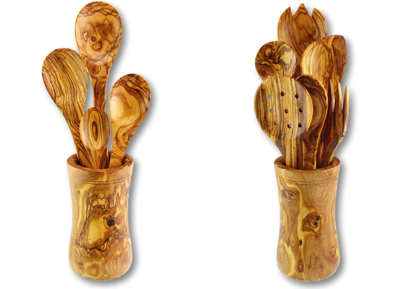 2 wooden olive wood utensil holders with utensils Pot à ustensiles couverts porte-ustensiles en bois d'olivier  by MR OLIVEWOOD® wholesale manufacturer US based supplier USA Canada