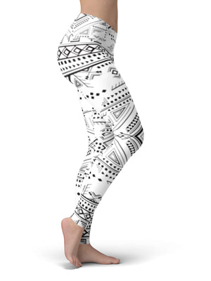 Aztec Black and White Yoga Leggings - Aloki Athletica