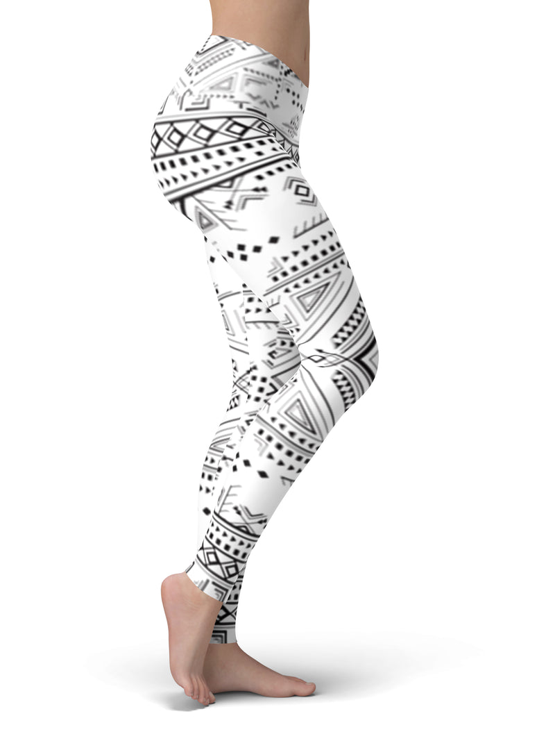 Aztec Black and White Yoga Leggings
