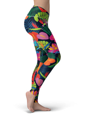Jungle Floral Yoga Pants - Aloki Athletica