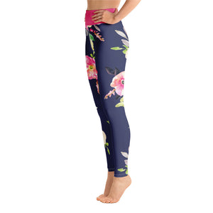 Navy Pink Floral Yoga Leggings - Aloki Athletica