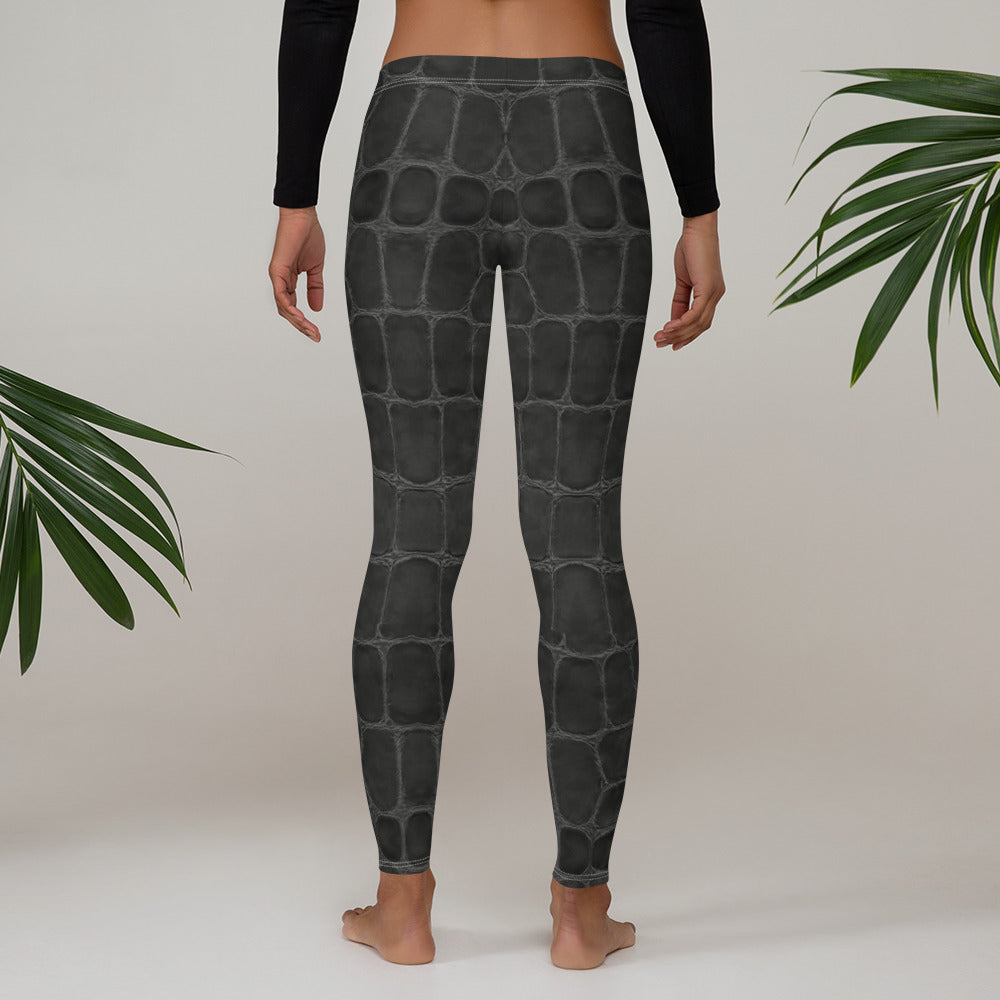 Black Croc Leggings - Aloki Athletica