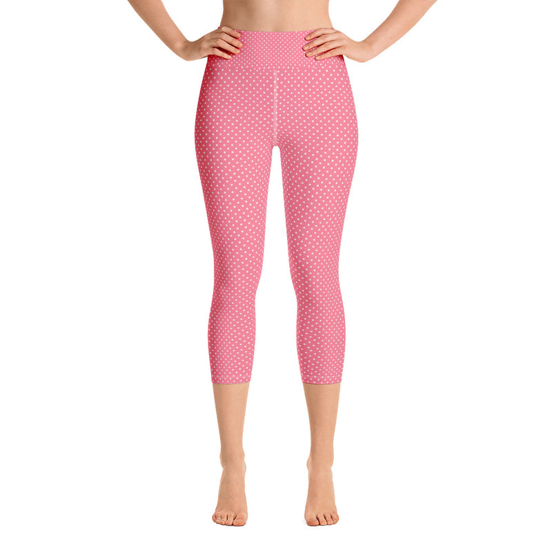 Flamingo Red Polka Dot Yoga Capri Leggings