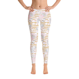 Gold Floral Print Leggings - Aloki Athletica