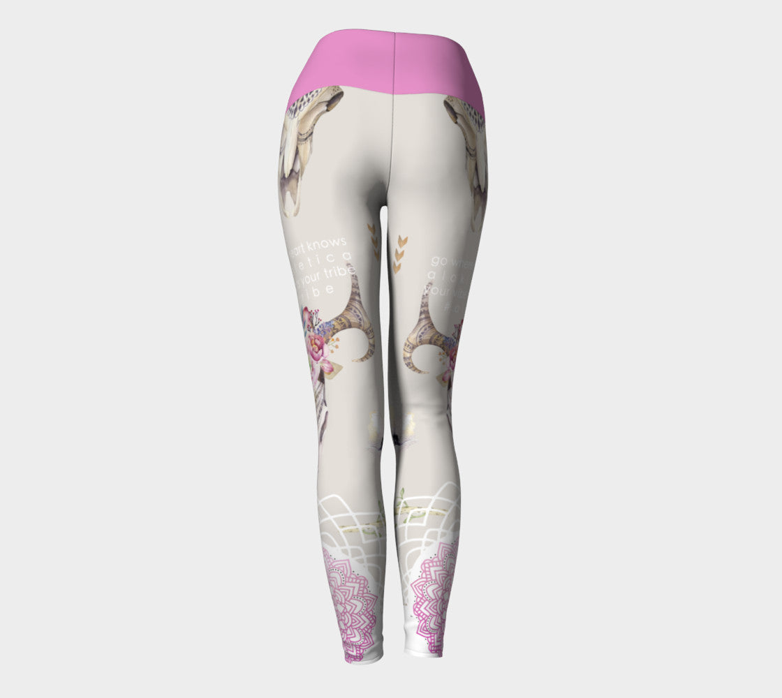Heart Inspo Pink Yoga Pants - Aloki Athletica