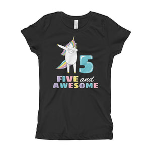 a753c999c Fifth Birthday Tee - 5 And Awesome Shirt - Five Years Old Birthday Gift  Outfit -