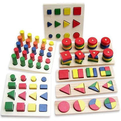 8 In 1 Montessori Geometry Shape Classic Block Set-Genuine Wooden Toys