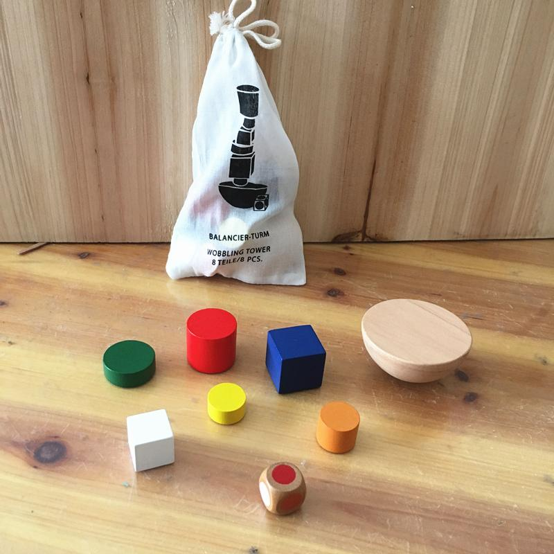 Baby Toys Geometric Blocks Balancing Game Canvas Bag Small Size Child Educational Toys Blocks Family Game Birthday Gift-Genuine Wooden Toys