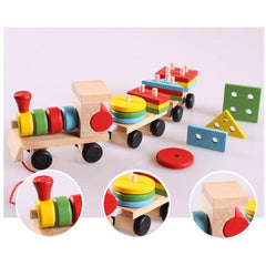 Baby Toys Kids Trailer Wooden Train Vehicle Blocks Geometry/Colour Congnitive Blocks Child Education Birthday/Christmas Gift-Genuine Wooden Toys