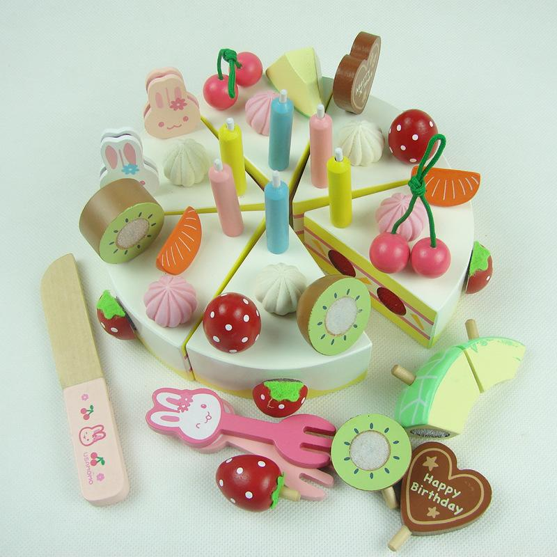 Children's Strawberry Simulation Creamy Birthday Cake-Genuine Wooden Toys