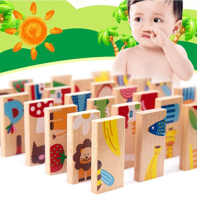 Domino Building Blocks (Animals)-Genuine Wooden Toys
