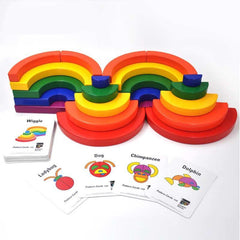 Large Circle Wooden Rainbow Geometric Blocks-Genuine Wooden Toys