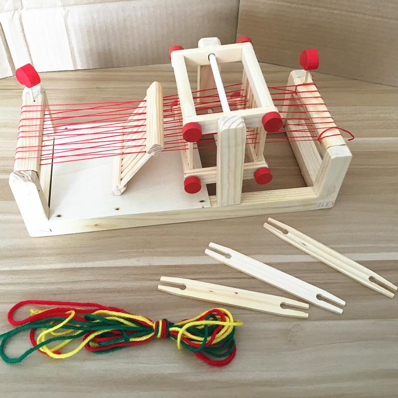 Model Wooden Traditional Weaving Loom Toy for Young Children-Genuine Wooden Toys