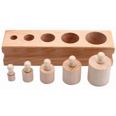 Montessori Set Socket Cylinder Tower Building Blocks-Genuine Wooden Toys