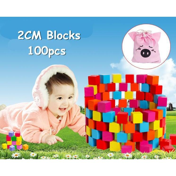 Multicolor Building Blocks (100pcs)-Genuine Wooden Toys