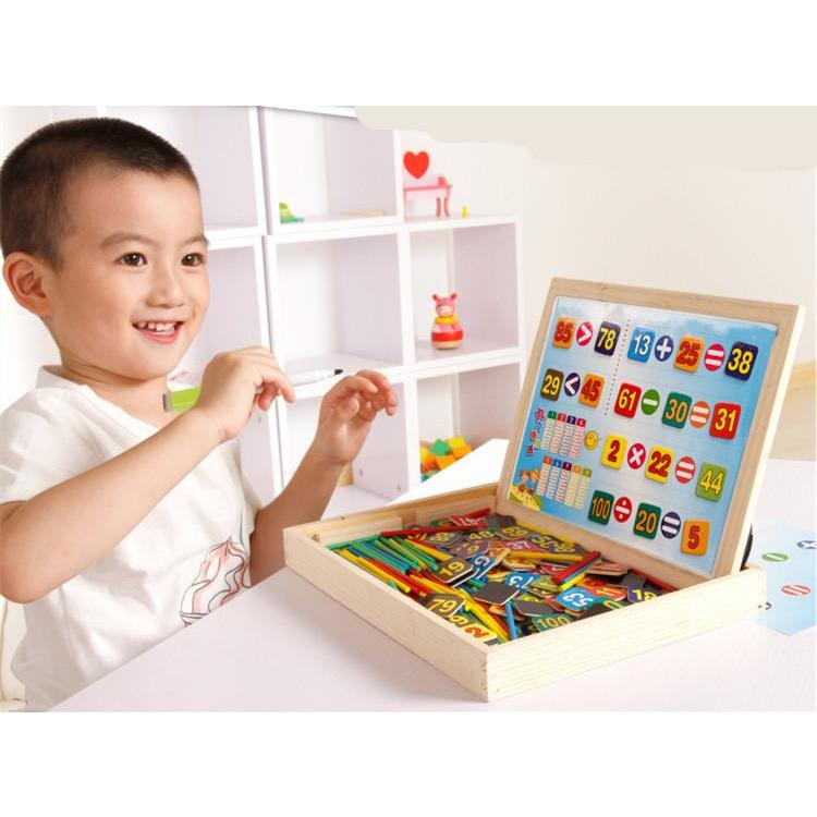 Multipurpose Wooden Study Box with Magnetic Components-Genuine Wooden Toys