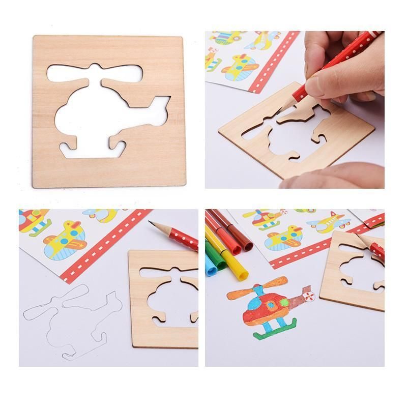 Wooden Creative Drawing Set with Stencils-Genuine Wooden Toys