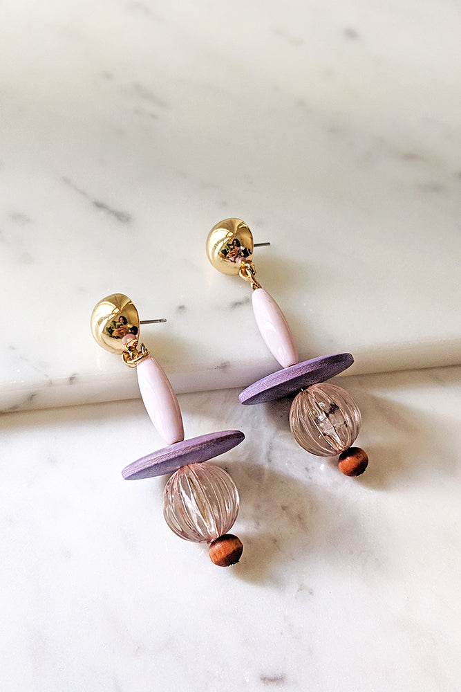 Gold Stud With Flat wooden Resin Earrings