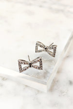 Crystal Ribbon Stud Earrings