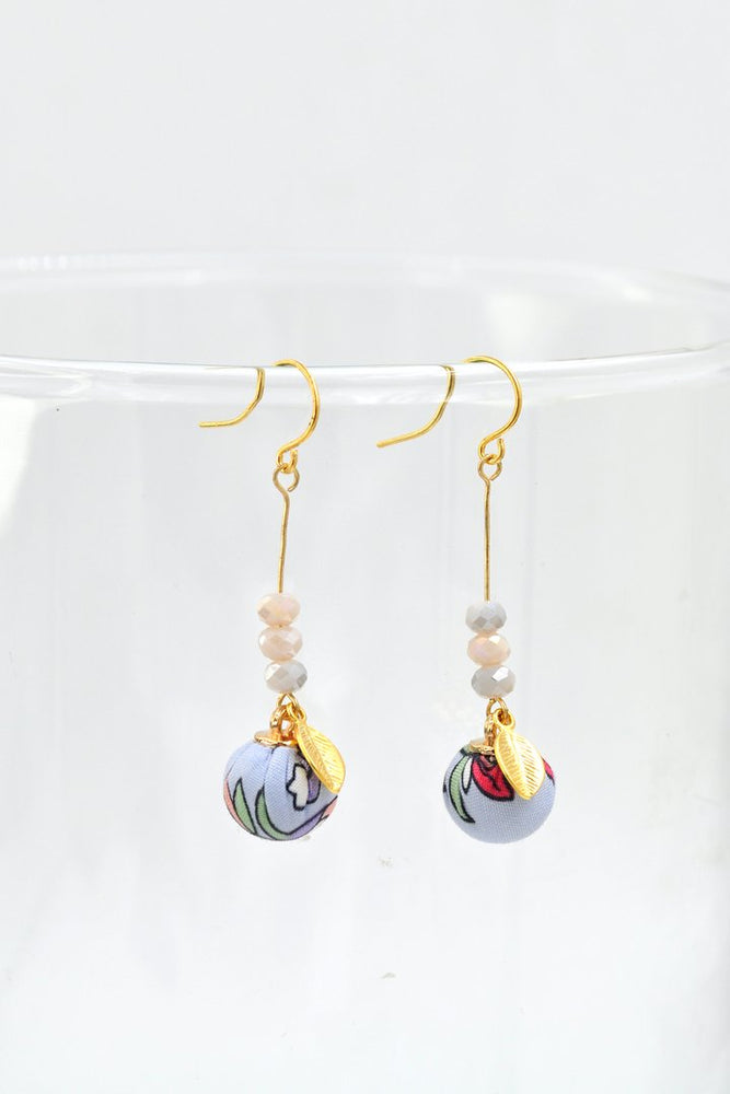 Fabric Pom Pom Earrings