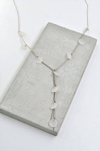 Disc Tassel Drop Chain Necklace