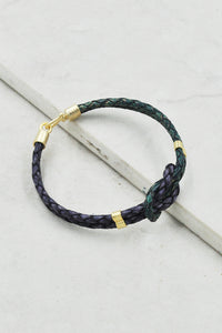 Luiza Leather Bracelet in Rustic Violet-Green
