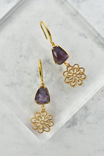 Jude Drop Earrings in Amethyst