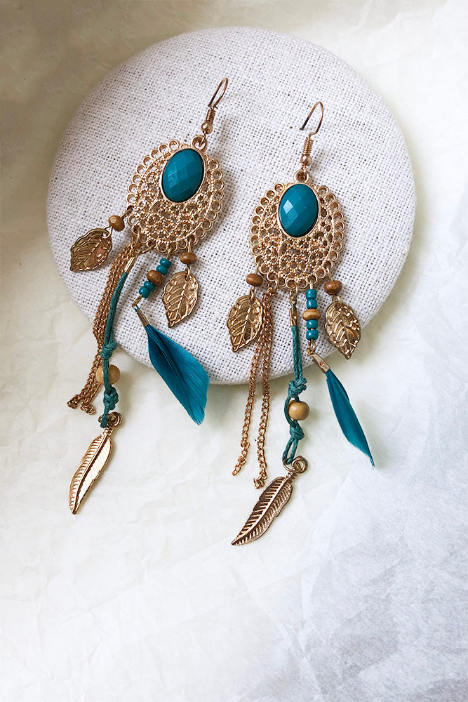 Gold Oval Emb With Long Chain and Feather Earrings