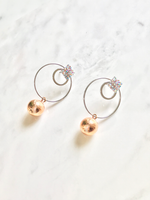 Double Circle Ball Diamante Stud Earrings