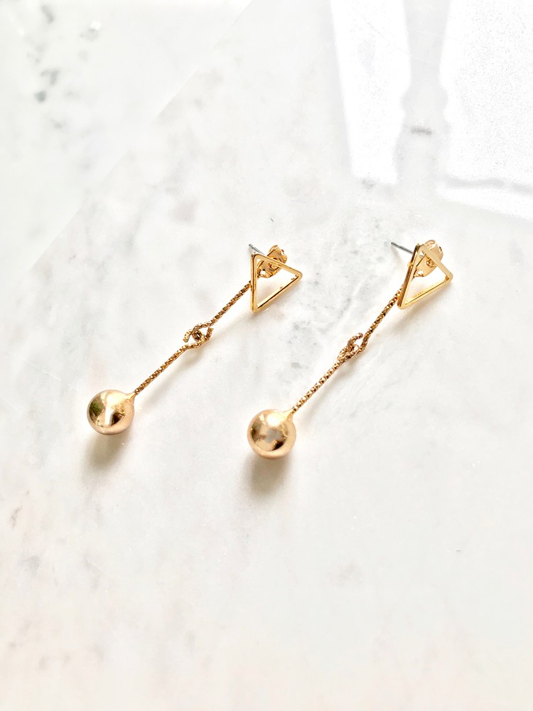 Gold Dangling Ball Drop Earrings