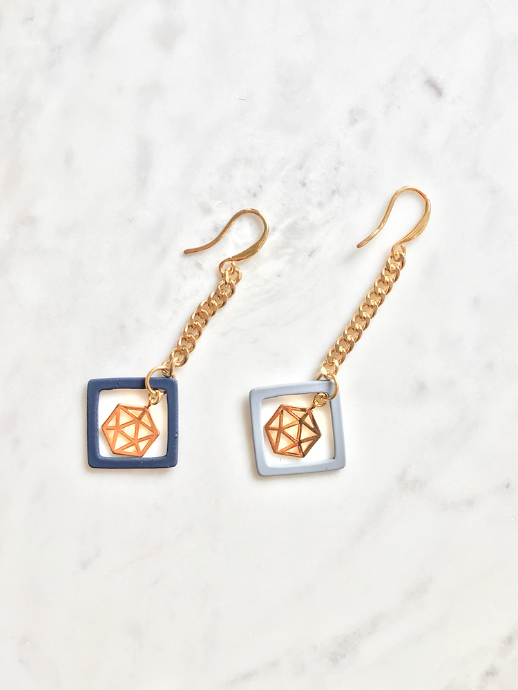 Gold Hexagon Drop Earrings