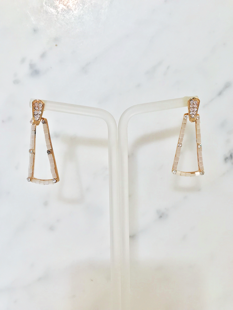 Beaded Trapezoid Crystal Drop Earrings