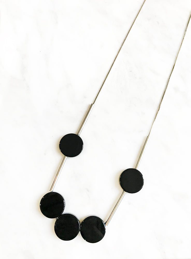 Circles and Bars Long Necklace
