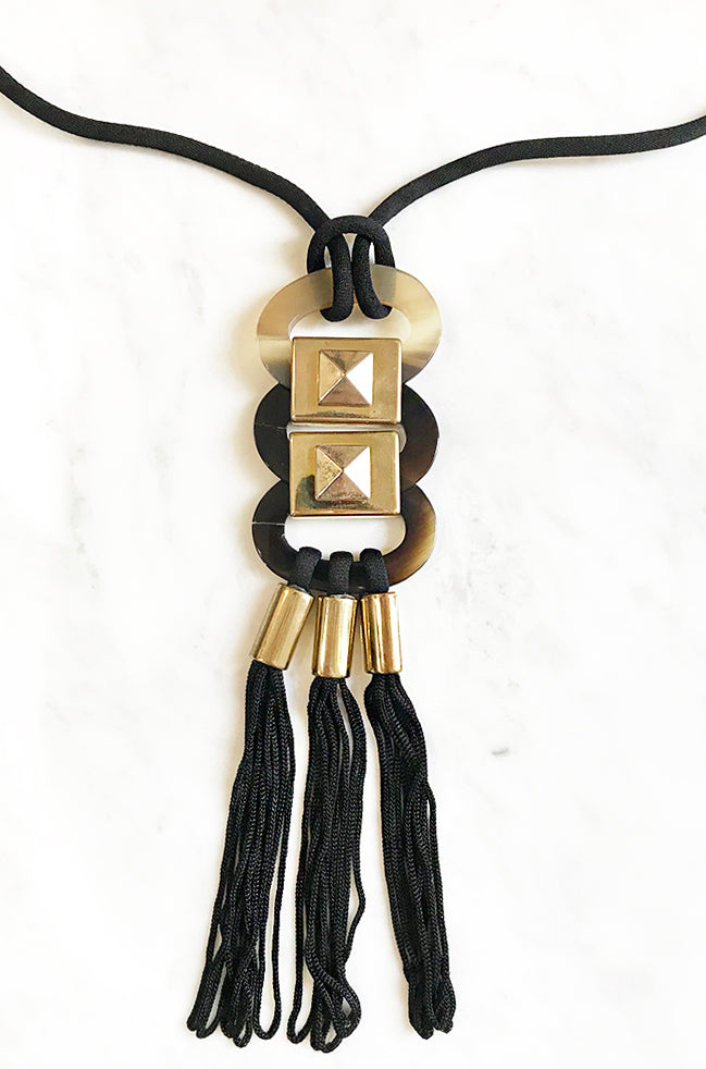 Linked Ovals and Tassels Long Necklace