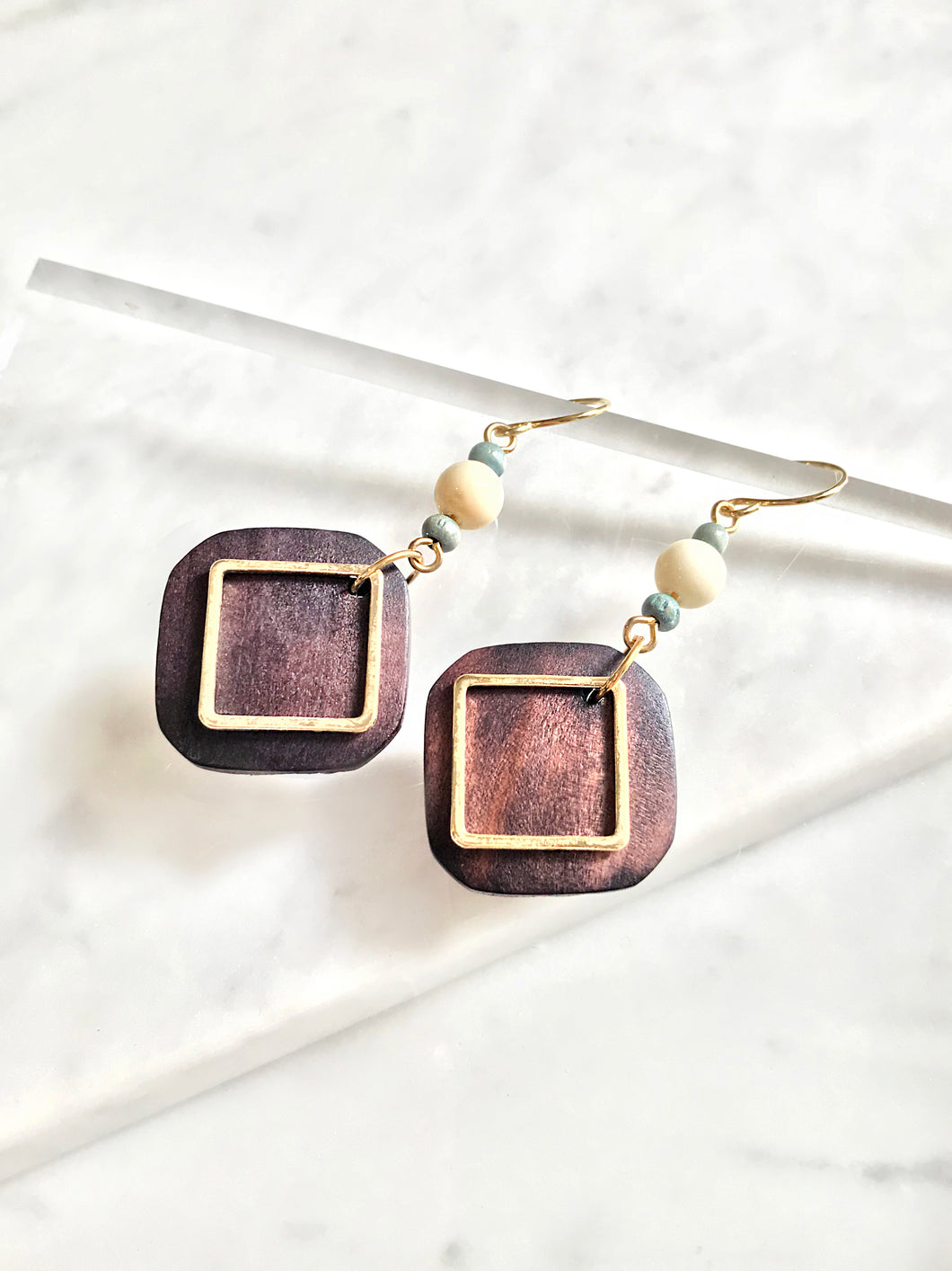 Wood Curved Edge Square Drop Earrings
