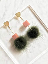 Furball and Cube Heart-Shaped Stud Drop Earrings