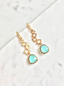 Squares and Oblong Stone Drop Earrings