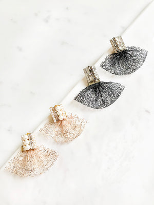 Fan Shaped Net with Crystal Stud Earrings