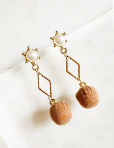 Diamond Outline and Fabric Ball Drop Earrings