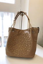 Button And Polka Dot Chain Strap Bag