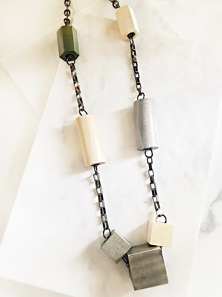 Wood Blocks Chunky Chain Long Necklace