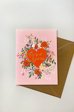 Love You Floral Greeting Card