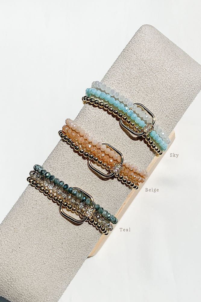 Square Lock Bracelet Stack