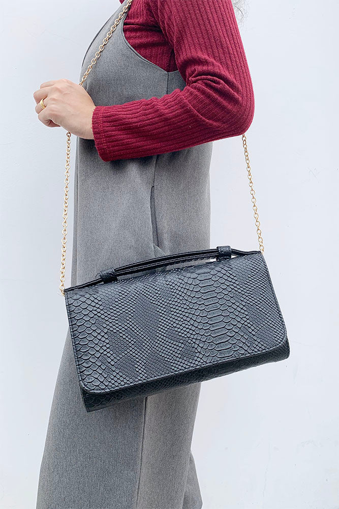 Croc Textured Handle Clutch