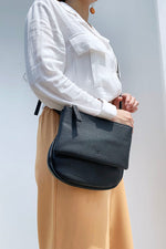 Duo Zipper Half Moon Tote Bag
