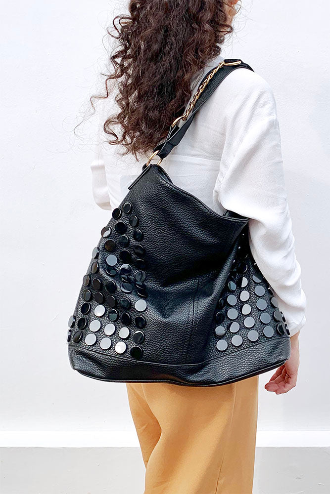 Button With Half Chain Strap Large Shoulder Bag