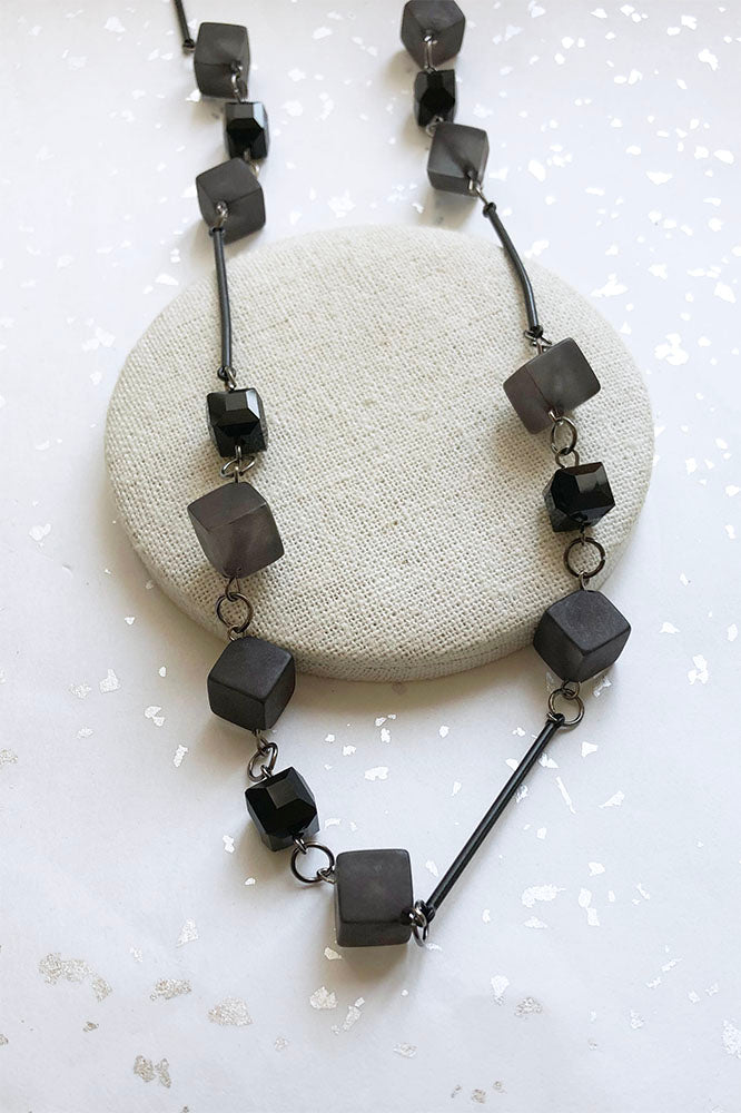 Bar And Sq Cube Long Necklace