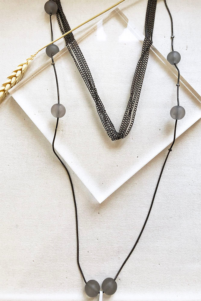 Matte Beads With Layered Chain Long Necklace